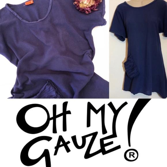 Oh My Gauze Tops Oh My Gauze Navy Blue Faith Blouse Hip Pocket